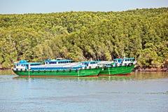 Scarico della nave nel porto di Saigon, il Vietnam, il Mekong Viste degli ancoraggi, delle sponde del fiume e delle navi, rimorch immagine stock libera da diritti