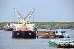 Scarico della nave nel porto di Saigon, il Vietnam, il Mekong Viste degli ancoraggi, delle sponde del fiume e delle navi, rimorch immagini stock