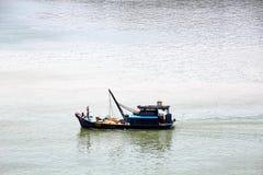 Scarico della nave nel porto di Saigon, il Vietnam, il Mekong Viste degli ancoraggi, delle sponde del fiume e delle navi, rimorch immagini stock libere da diritti