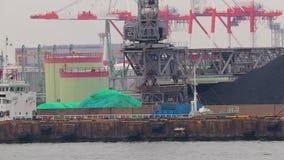 Scarico della nave in porto industriale video d archivio