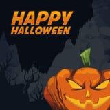 Scariest Halloween Pumpkin on Spooky background Stock Photography