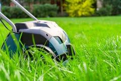 Scarifier on green grass. Work in the garden. Scarifier Stock Images