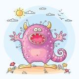 Scaring cartoon monster. No gradients Stock Photo