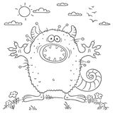 Scaring cartoon monster. No gradients Stock Images