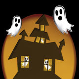 Scaring ghosts. Black ghosts in halloween scaring a brown house in an orange background Royalty Free Stock Image