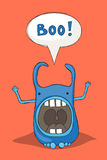 Scaring monster. Sketchy cartoon monster scaring and saying boo Royalty Free Stock Images