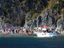 Scario - taxi del mare alla spiaggia dei gabbiani Fotografie Stock