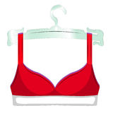 Scarlet bra on a hanger icon. Female sexy underwear isolated on white background. Vector illustration. Scarlet bra on a hanger icon. Female sexy underwear Stock Photo