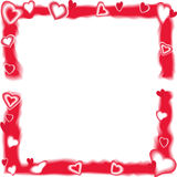 Scarlet frame with hearts Royalty Free Stock Photography
