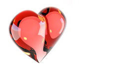 Scarlet glass heart Stock Image
