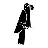 Scarlet macaw tropical bird pictogram Stock Image