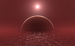 Scarlet ocean of alien planet Royalty Free Stock Photos