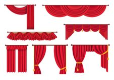 Scarlet Pompous Curtains Collection on White. Royalty Free Stock Images