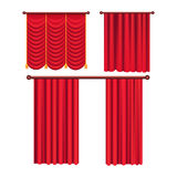 Scarlet Pompous Curtains Collection on White. Stock Image