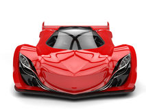 Scarlet red awesome race super car - front view closeup shot Stock Image