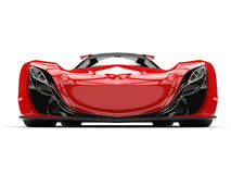 Scarlet red awesome race super car - front view Stock Photography