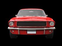 Scarlet red vintage American muscle car - front view closeup shot Royalty Free Stock Image