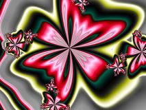Scarlet ribbons. Bright floral fractal resembling ribbons Stock Photo