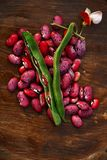 Scarlet running beans - pod, flower and beans on wood Stock Image
