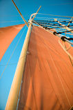 Scarlet sails. On masts against the blue sky Stock Images