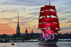 Scarlet Sails. Celebration graduates in St. Petersburg Royalty Free Stock Photos