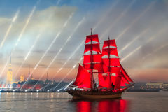 Scarlet Sails celebration in St Petersburg. Celebration Scarlet Sails show during the White Nights,  St. Petersburg, Russia Royalty Free Stock Photography