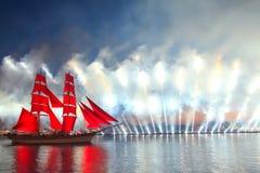 Scarlet Sails celebration in St Petersburg. Celebration Scarlet Sails show during the White Nights,  St. Petersburg, Russia Stock Image