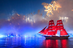 Scarlet Sails celebration in St Petersburg. Celebration Scarlet Sails show during the White Nights, St. Petersburg, Russia royalty free stock image