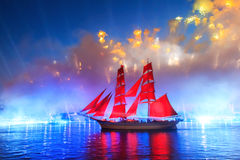 Scarlet Sails celebration in St Petersburg. Celebration Scarlet Sails show during the White Nights, St. Petersburg, Russia royalty free stock photo