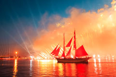 Scarlet Sails celebration in St Petersburg. Celebration Scarlet Sails show during the White Nights, St. Petersburg, Russia royalty free stock photos