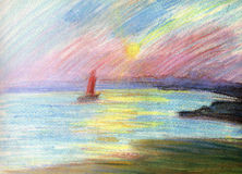 SCARLET SAILS, pastel. Romantic seascape. Illustration to A. Grin's novel  Scarlet sails. A Royalty Free Stock Photo