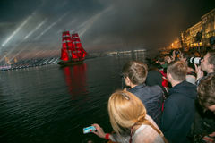 Scarlet Sails ship during the festival in St. Petersburg Royalty Free Stock Images
