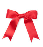 Scarlet satin present bow Stock Photo