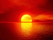 Scarlet sunset. Over ocean. 3D rendered scene Stock Photography