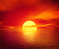 Scarlet Sunset. Over ocean. 3D rendered scene Royalty Free Stock Image