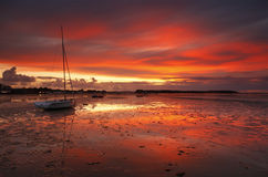 A Scarlet Sunset across Poole Harbour Stock Images
