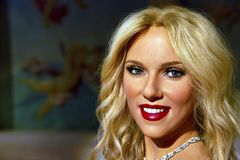 Scarlett Johansson en señora Tussauds de Nueva York fotografía de archivo libre de regalías