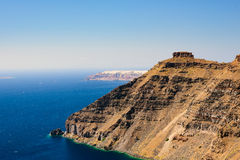 The Scaros cliff of caldera in the Imerovigli at Santorini island Stock Photo