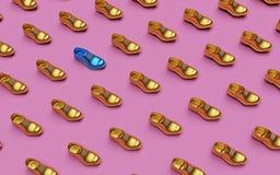 Scarpa blu fra molte dorate rappresentazione minima del fondo 3d illustrazione vettoriale