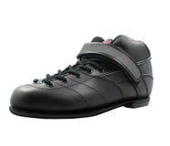 Scarpa con stringhe nera fatta di cuoio Immagine Stock
