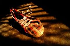 Scarpa da tennis alla luce e ad ombra Fotografia Stock Libera da Diritti