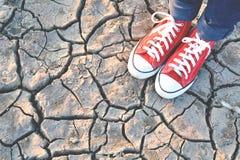 Scarpa da tennis sulla terra asciutta della crepa Immagine Stock Libera da Diritti