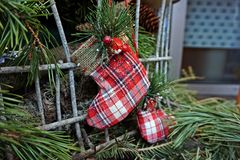Scarpa decorativa di natale Immagini Stock Libere da Diritti