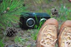Scarpa di Brown della ragazza dei pantaloni a vita bassa che si trova sull'erba e sulla musica d'ascolto Immagini Stock Libere da Diritti