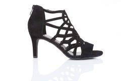 Scarpa di cuoio nera dello stiletto Fotografia Stock