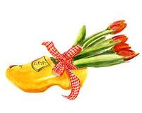 Scarpa di legno olandese con i tulipani Fotografie Stock