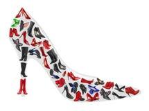 Scarpa fatta delle calzature della donna Immagini Stock Libere da Diritti
