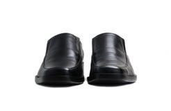 Scarpa lucida nera dell'uomo isolata Fotografia Stock