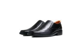 Scarpa lucida nera dell'uomo isolata Fotografia Stock Libera da Diritti