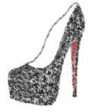 Scarpa nera e rossa decorata Fotografie Stock Libere da Diritti